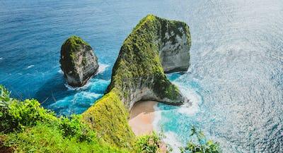 Panoramic shot of Manta Bay or Kelingking Beach on Nusa Penida Island, Bali, Indonesia