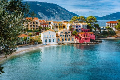 Summer vacation in Greece, picturesque colorful village Assos in Kefalonia