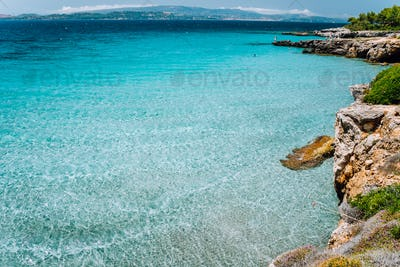 Cristal clear turquoise sea water. Seaside beach lagoon and scenery coastline of Kefalonia island