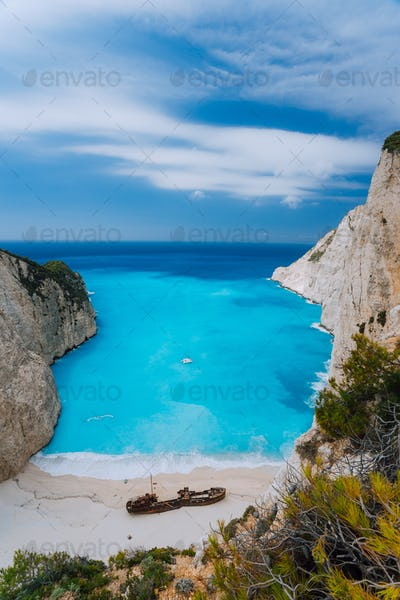 Top view of Navagio Shipwreck Beach on Zakynthos island, Greece. Famous attraction landmark must-see