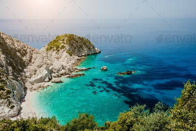 Top view to Agia Eleni beach in Kefalonia Island, Greece. Most beautiful rocky wild beaches with