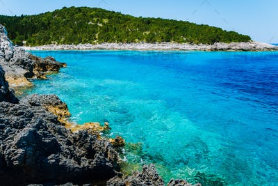 Dafnoudi beach in Kefalonia, Greece. Clear ripple water Stunning amazing charming places, famous