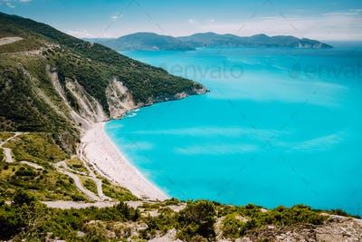 Famous Myrtos Beach. Must see visiting location on Kefalonia Greece