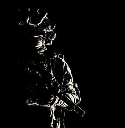 Special operations forces soldier low key portrait