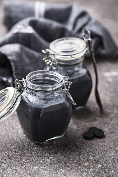 Black activated charcoal detox yogurt
