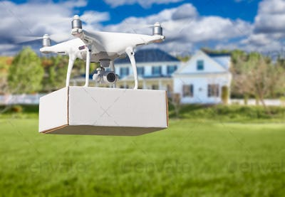 Unmanned Aircraft System (UAV) Quadcopter Drone Delivering Package At House