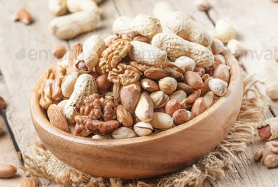 Nuts set assortment in bowl