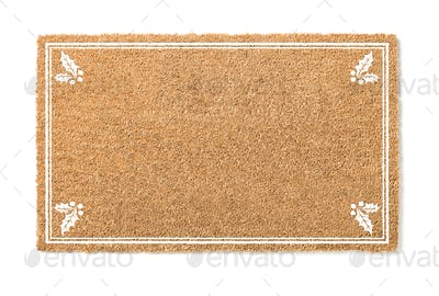 Blank Holiday Welcome Mat With Holly Isolated on White  Background