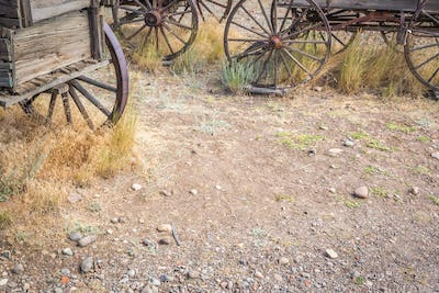 Abstract of Vintage Antique Wood Wagons and Wheels.
