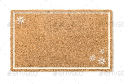 Blank Holiday Welcome Mat With Snow Flakes Isolated on White  Background