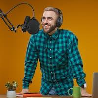 Radio Broadcaster Working In Studio