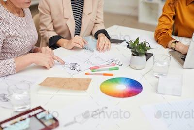 Unrecognizable Fashion Designers Teamwork