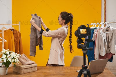 Fashion Blogger Filming Video in Studio