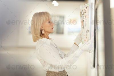 Elegant Woman Hanging Painting in Art Gallery