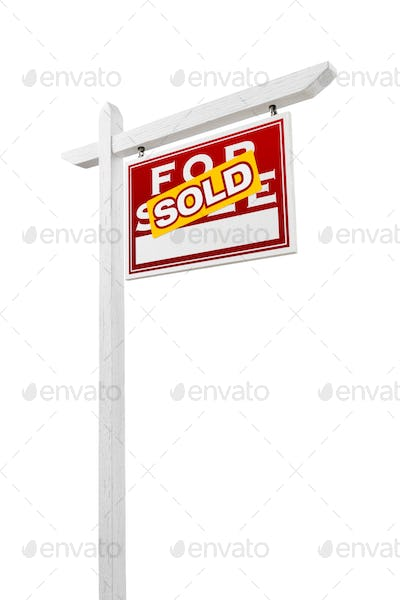 Right Facing Sold For Sale Real Estate Sign Isolated on a White Background.