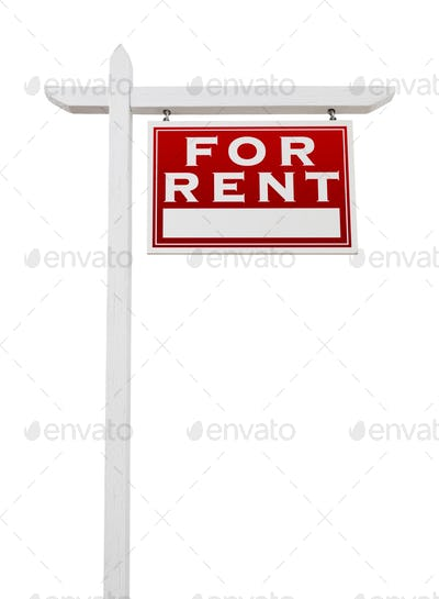 Right Facing For Rent Real Estate Sign Isolated on a White Background.