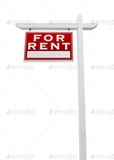 Left Facing For Rent Real Estate Sign Isolated on a White Background.