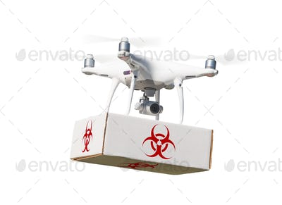 Quadcopter Drone Carrying Package With Biohazard Symbol Label On White.
