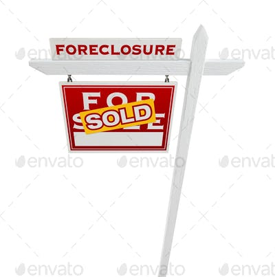 Left Facing Foreclosure Sold For Sale Real Estate Sign Isolated on White.