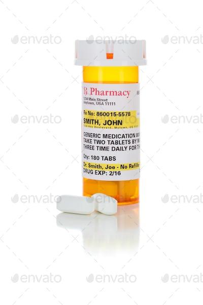 Non-Proprietary Medicine Prescription Bottle and Pills Isolated on White