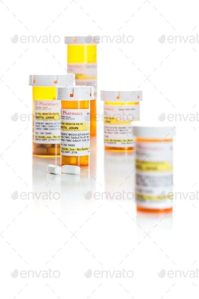 Non-Proprietary Medicine Prescription Bottles and Pills Isolated on White