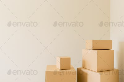 Packed Moving Boxes In Empty Room