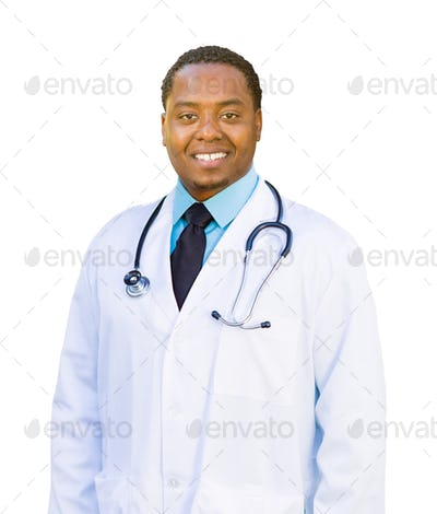 African American Male Doctor Isolated on a White Background