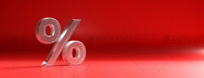 Percent sign glass texture against red color curved background. 3d illustration
