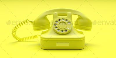 Telephone vintage on yellow color background. 3d illustration