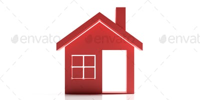 House icon red isolated on white background, Housing project concept. 3d illustration