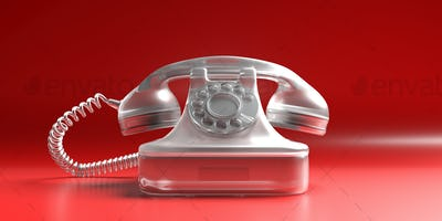Telephone vintage on red background. 3d illustration