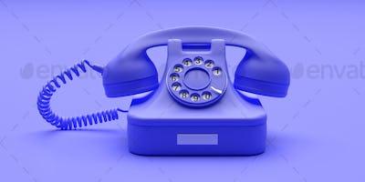 Telephone vintage on blue color background. 3d illustration