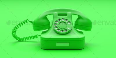 Telephone vintage on green color background. 3d illustration