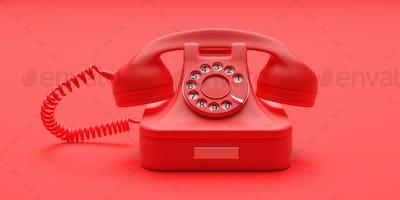 Telephone vintage on red color background. 3d illustration