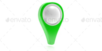 Map location pin isolated on white background. 3d illustration