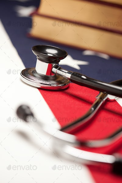 Stethoscope and Books on American Flag