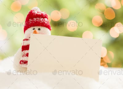 Cute Snowman with Blank White Card Over Abstract Background