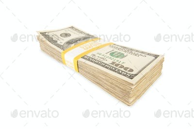 Stack of One Hundred Dollar Bills Isolated
