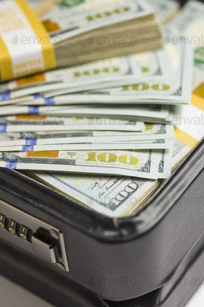 Stacks of Newly Designed One Hundred Dollar Bills in Briefcase