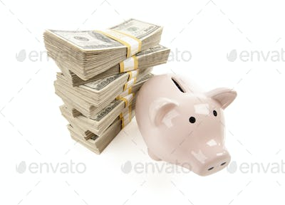Pink Piggy Bank with Stacks of Money