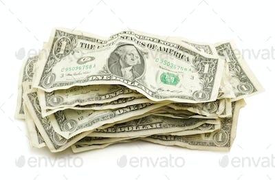 Pile of Crumpled Dollar Bills