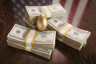 Golden Egg and Thousands of Dollars with American Flag Reflection