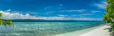 Beach on Kri Island. Raja Ampat, Indonesia, West Papua. Banner