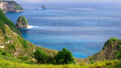 Coastline, Thousand Island, near Manta Bay or Kelingking Beach on Nusa Penida Island, Bali