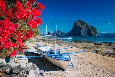 Traditional banca boat and vivid colored flowers at Las cabanas beach with amazing Pinagbuyutan