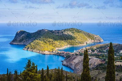 Picturesque view of Assos village and calm sea bay, Kefalonia island, Greece