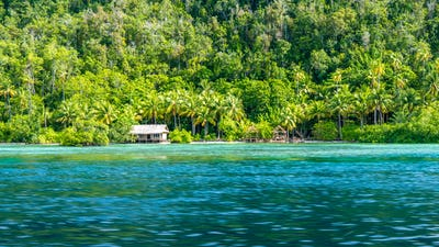 Homestay Bamboo hut on Monsuar Island. Raja Ampat, Indonesia, West Papua