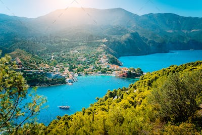 Top view to Assos village Kefalonia. Greece. Beautiful turquoise colored bay lagoon water surrounded
