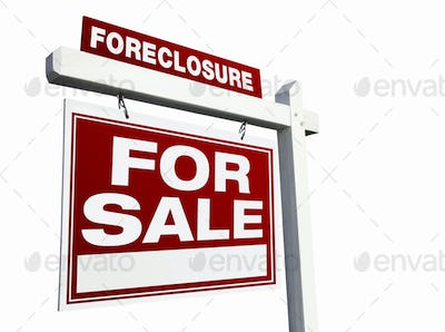 Red Foreclosure Real Estate Sign on White.