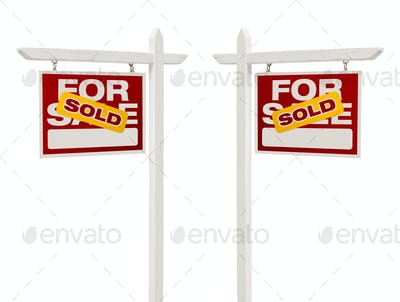 Pair of Sold For Sale Real Estate Signs, Clipping Path